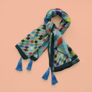 alchimies-foulard-lyon-laine-etole-echarpe-arlequin-bleu