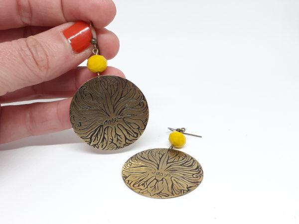 boucles oreilles speaking hands bijoux laiton lyon
